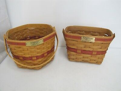 "Pair Of Longaberger Baskets 6.5"" Tall Christmas Collection 1989 And 1997 Edition"