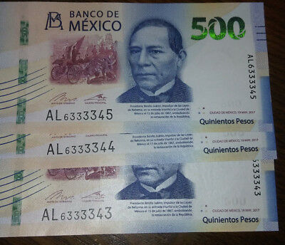 3 Mexican bills $500 Serial brand new