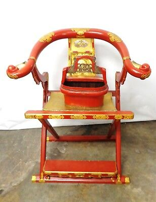 19th Century Chinese Red and Gilt Lacquer Folding Armchair w/Incense Burner