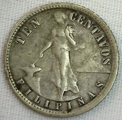 1935 Philippines 10 Centavos Silver 10 Cents Coin Extra Fine XF Eagle Shield
