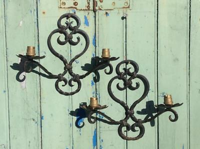Antique 1920's French Wrought Iron Wall Sconce Lights Ornate Detail Gothic Chic
