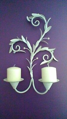 "18"" high wall mounted metal Shabby chic candlesticks x 2"