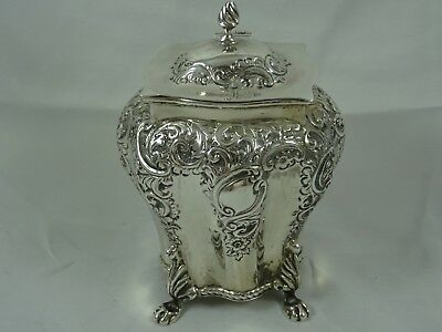STUNNING VICTORIAN silver TEA CADDY, 1900, 221gm