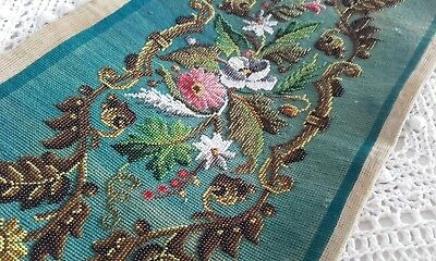 Antique 19thc Beadwork Embroidery Picture Panel of Roses ~ Needlework Tray Stand