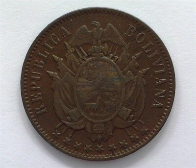 Bolivia 1883 2 Centavos  Nearly Uncirculated