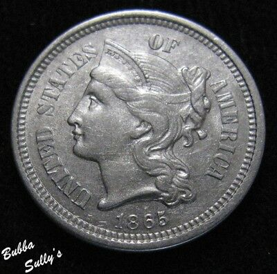 1865 III Cent Nickel <> ABOUT UNCIRCULATED