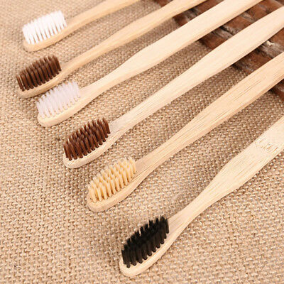 10pcs Bamboo Toothbrush Wood Teeth Brush Wooden Hand Remove Stain Disposable