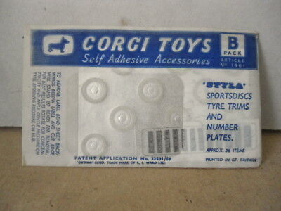 Corgi Toys Accessories Pack B - Styla Sportdiscs Tyre Trims & Number Plates