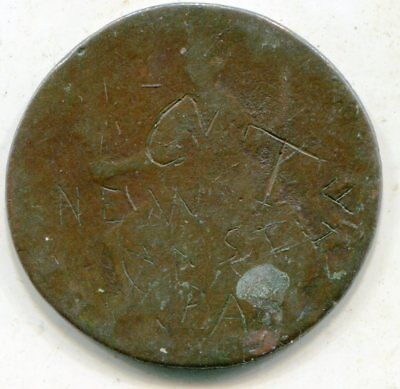 US Colonial 1/2 Penny with graffiti: CT New Castle PA  1770's    lotsep4524