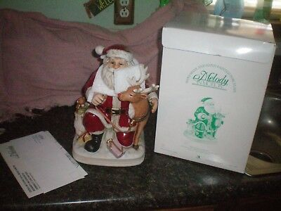 Vintage  Melody In Motion  Musical Animated Figure1996 Santa Claus With Rudolph