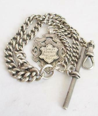 SUPERB ANTIQUE GRADUATED SILVER WATCH CHAIN 45.20g with SILVER FOB 1910