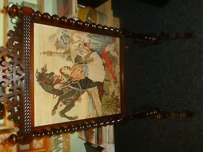 Antique fire  screen, English, Victorian, Tapestry. Rosewood