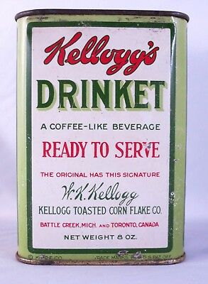 Original Ful 1919 Kellogg's Drinket Coffee Like Beverage Metal Tin US Canada 8 o