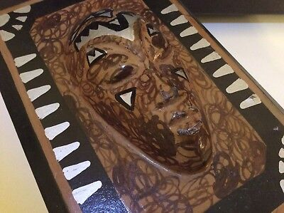 Vintage Unusual Weird 3D Abstract Tribal Head AFRICAN Coffin Style Storage Box