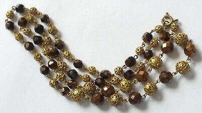 Czech Vintage Art Deco Wired Filigree And Faceted Glass Bead Necklace