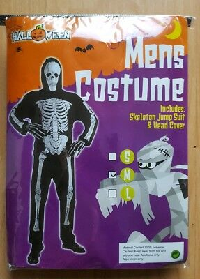 Mens Halloween 'skeleton' Costume. New Size M