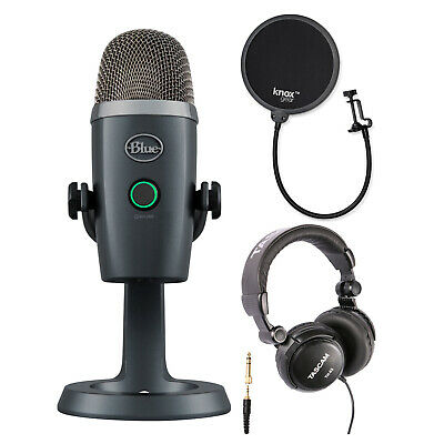 Blue Yeti Nano USB Microphone (Shadow Gray) with Headphones and Pop Filter