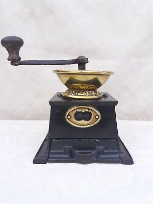 Antique Cast Iron Coffee Grinder with Brass Hopper & Label by T & C CLark & Co.
