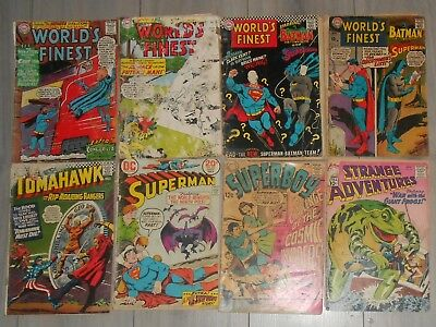 Lot Of 8 Low Grade Silver Age Dc Comics , Worlds Finest, Superman, Tomahawk.