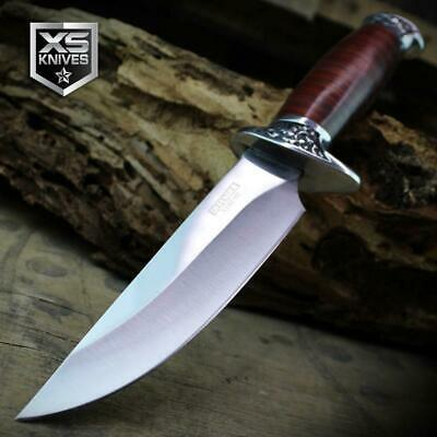 Combat SURVIVAL Hunting Tactical BOWIE Ornate Cherry Wood Fixed Blade Knife