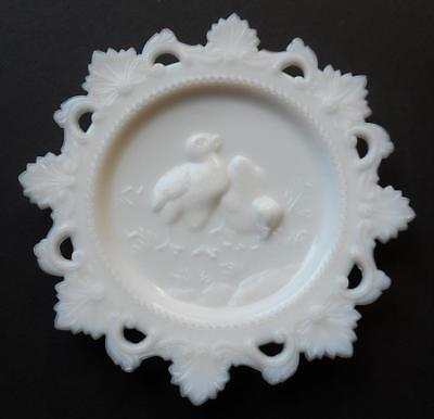Vintage Westmoreland White Milk Glass Sweet Easter Chicks Lace Edge Plate
