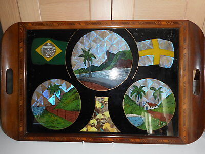 Art Deco Butterfly Wing Rio De Janeiro Santos Brasil Glass Topped Marquetry Tray