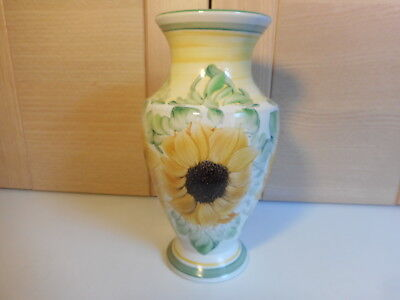 Denby Handpainted Sunflowers Yellow Green & White Vase Signed By Lyn