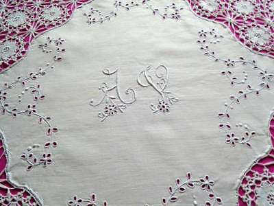 Exquisite Antique White Work Linen Tablecloth~Superb Crochet Lace~Initials A & V