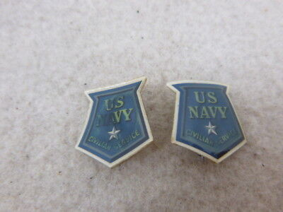 Scarce Ww 2 Cellulode Us Navy Civilian Service Pins Pair Of Them