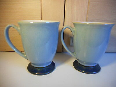 Pair Of Denby Blue Jetty Footed Mugs Second Quality Used