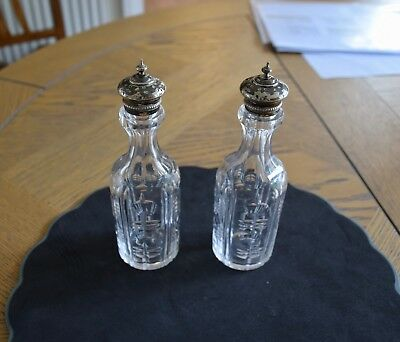 Pair Of Cut Glass Crystal Cruet Bottles With Silver Plate Mounts