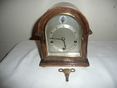 Small, Gustav Becker, Westminster Chimes Mantle Clock in Fantastic Oak Case.