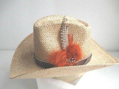 6e6e8189e785b Vintage NOS Stetson Roadrunner Straw Cowboy Hat Bryantcote w  head band  feather