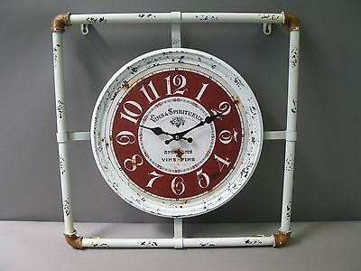 Large Vintage Wall Clock 50cm x Nostalgic Antique Style Made of Metal Pipe