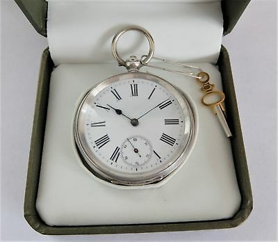 1890 Silver Cased 3/4 Plate Cylinder Pocket Watch In Working Order