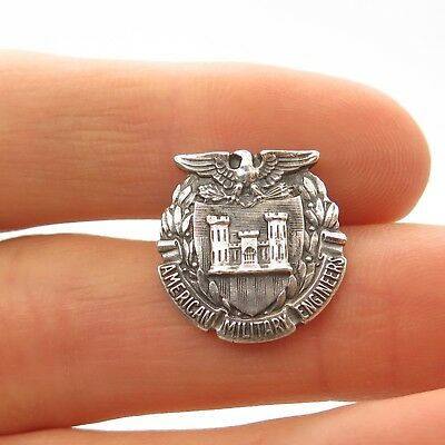 LGB WWII US Corps  925 Sterling Silver American Military Engineers Lapel Pin