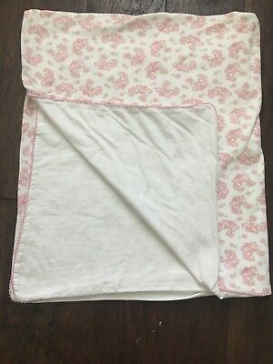 Amy Coe Baby Blanket Alphabet Soup White w Pink Birds Flowers Girl Floral Roses
