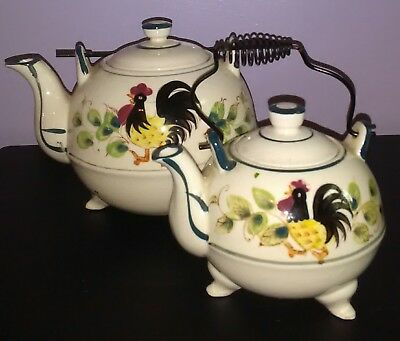 Antique Matching Set Rooster / Sunflower Collectible Tea Kettles - Free Shipping