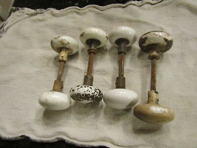 "Antique Victorian White Porcelain Ceramic 2.25"" Door Knobs 4 Sets 8 Total"