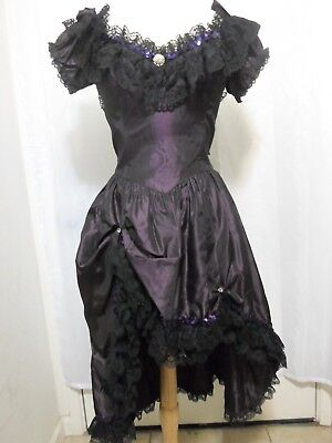 Vintage Purple Black Taffeta Western Saloon Can Can Girl Costume