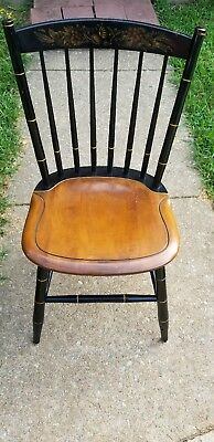 Antique/Vintage Hitchcock Black & Stenciled Side Dining Chairs