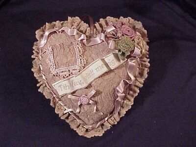 Tooth Fairy Pillow~Dainty & Sweet Heart Shape~Lace, Ribbons Flowers~