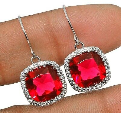 6CT Ruby & White Topaz 925 Solid Genuine Sterling Silver Earrings Jewelry