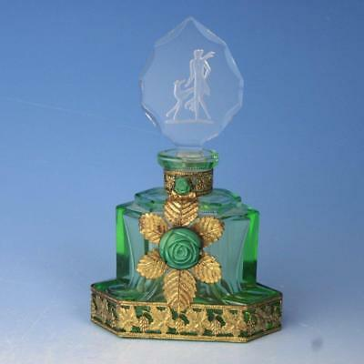 Art Deco Signed Czech Green Jeweled Ormolu Perfume Bottle