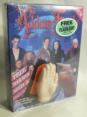 Full + SEALED 1991 ADDAMS FAMILY Ralston Cereal Box w/ Thing FLASHLIGHT