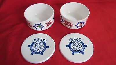 Lot of 2 Vtg Instant Quaker Oatmeal Popeye Cereal Bowl w/Lids, Advertsing Promo.