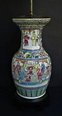 Large Antique Chinese Famille Rose Porcelain Vase as a Lamp