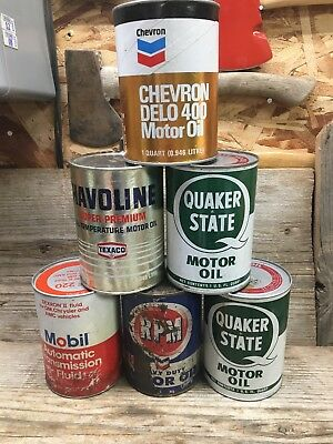 Lot of 6 Vintage Qt. Oil Cans Quaker State RPM Chevron Texaco Mobil Some Full