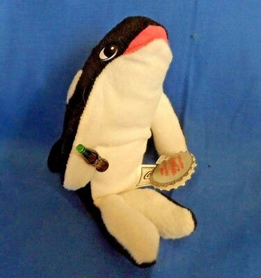 Coca-Cola Whale Holding a Coke Bottle  Shamu, #0137, Bean Bag Plush