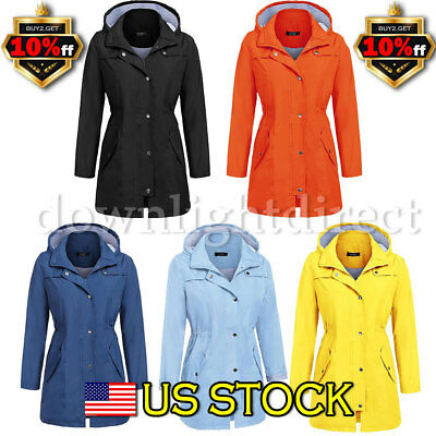 Women Rain Mac Waterproof Festival Jacket Ladies Anorak Hooded Coats RainCoat US